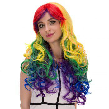Offbeat Rainbow Film Character Long Fluffy Side Bang Wavy Cosplay Wig - COLORMIX