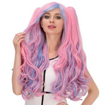 Film Character Colored Long Fluffy Side Bang Wavy With Bunches Cosplay Wig