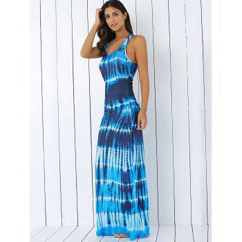 Bohemian Tie-Dye Illusion Print Racerback Long Tank Dress - BLUE XL