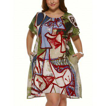 Buy Plus Size Vintage Short Sleeve Ethnic Print Mini Dress COLORMIX