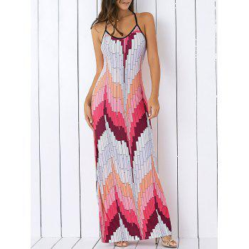 Bohemian Spaghetti Strap Color Block Maxi Dress