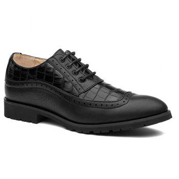 Lace Up Winge Tip Formal Shoes - BLACK BLACK