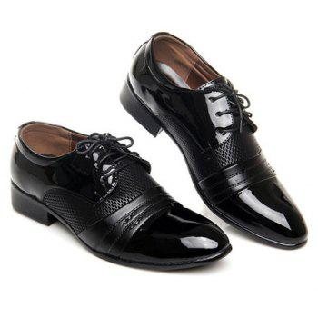 Patent Leather Hollow Out Formal Shoes - BLACK 40