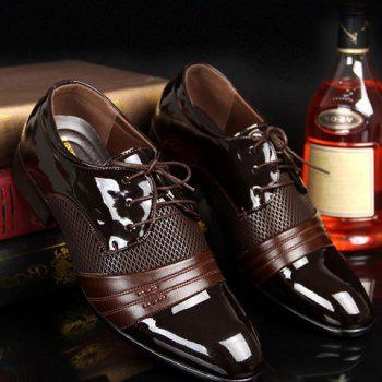 Patent Leather Hollow Out Formal Shoes - BROWN 42