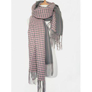 Winter Warm Houndstooth Stripe Tassel Edge Scarf