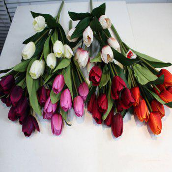 Un bouquet de Home Decor 9 Head Tulip Fleur artificielle - Pourpre
