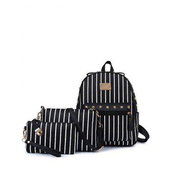 Trendy Striped and Rivet Design Women's Backpack