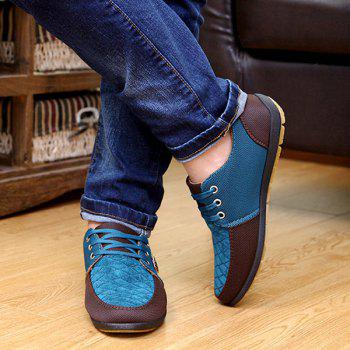 Checked Color Block Casual Shoes - BLUE 44