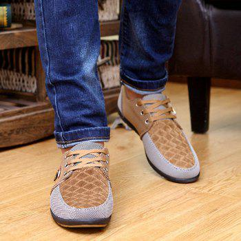 Checked Color Block Casual Shoes - KHAKI 40