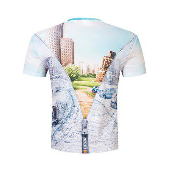 Short Sleeve Building Scenery 3D Printed Tee - COLORMIX M