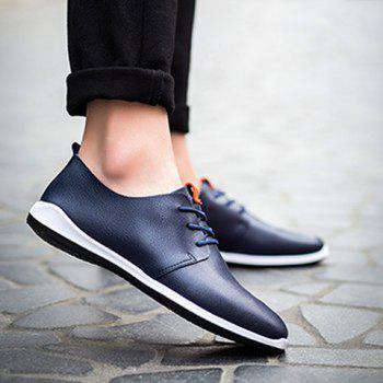 Concise PU Leather and Lace-Up Design Men's Casual Shoes - BLUE 41