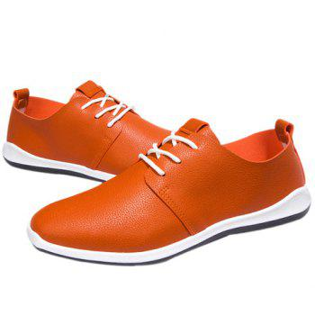 Concise PU Leather and Lace-Up Design Men's Casual Shoes - ORANGE 41