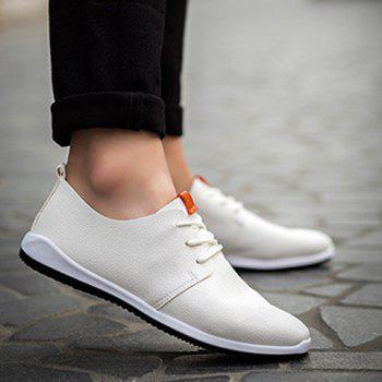 Concise PU Leather and Lace-Up Design Men's Casual Shoes - WHITE 41