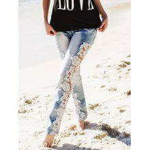 Attractive White Hollow Out Lace Spliced Bodycon Pencil Jeans For Women