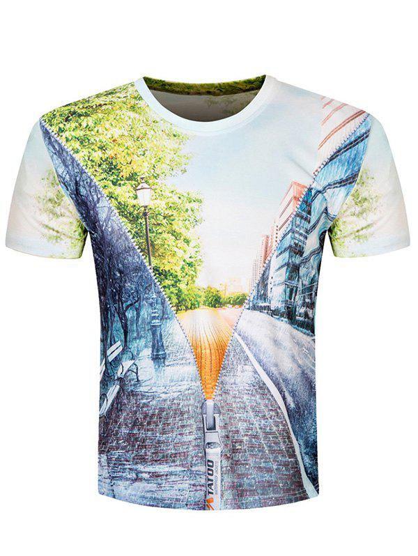Short Sleeve Road Scenery 3D Print Tee - COLORMIX L