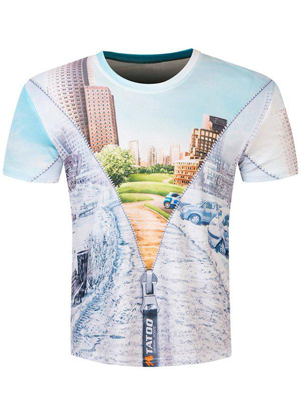 Short Sleeve Round Neck Building Scenery 3D Printed T-Shirt