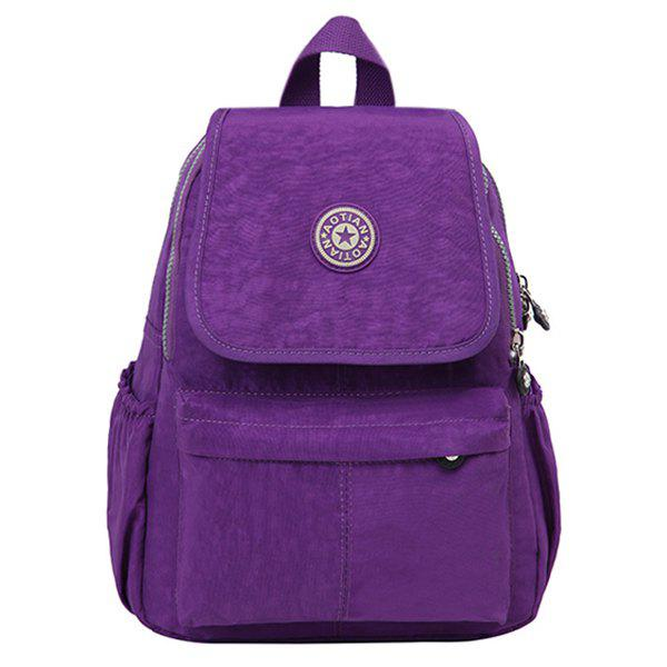Casual Cover and Zipper Design Women's Backpack - VIOLET