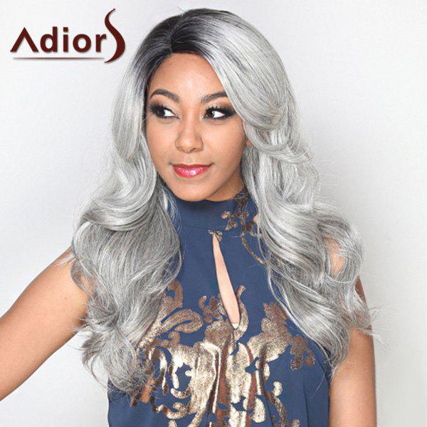 Long Mixed Color Side Parting Wavy Alluring Adiors Synthetic Wig - COLORMIX