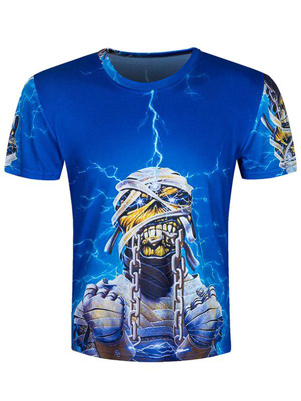 Short Sleeve Wicked Skull 3D Printed Tee - BLUE 2XL