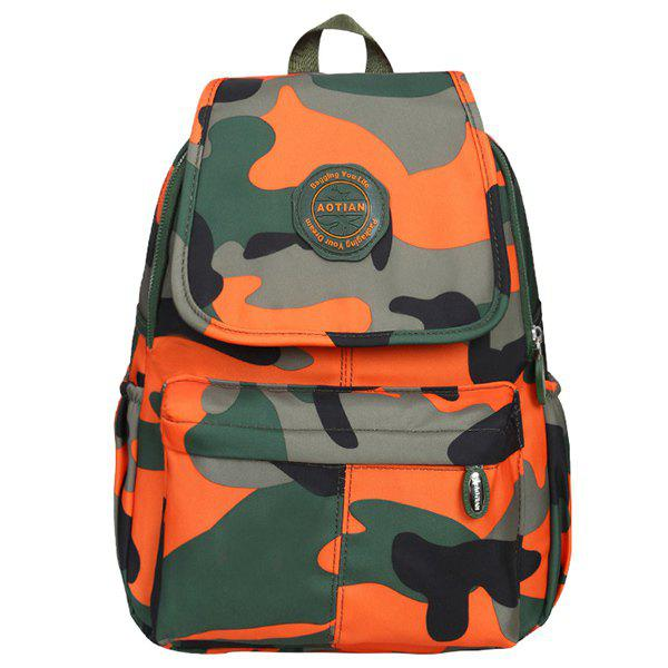 Camo Print Nylon Backpack - ORANGE