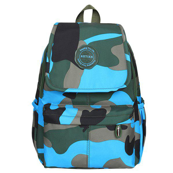 Camo Print Nylon Backpack - LAKE BLUE