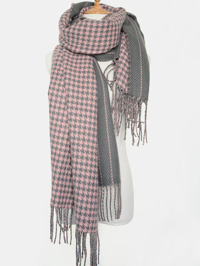 Winter Warm Houndstooth Stripe Tassel Edge Scarf - PINK