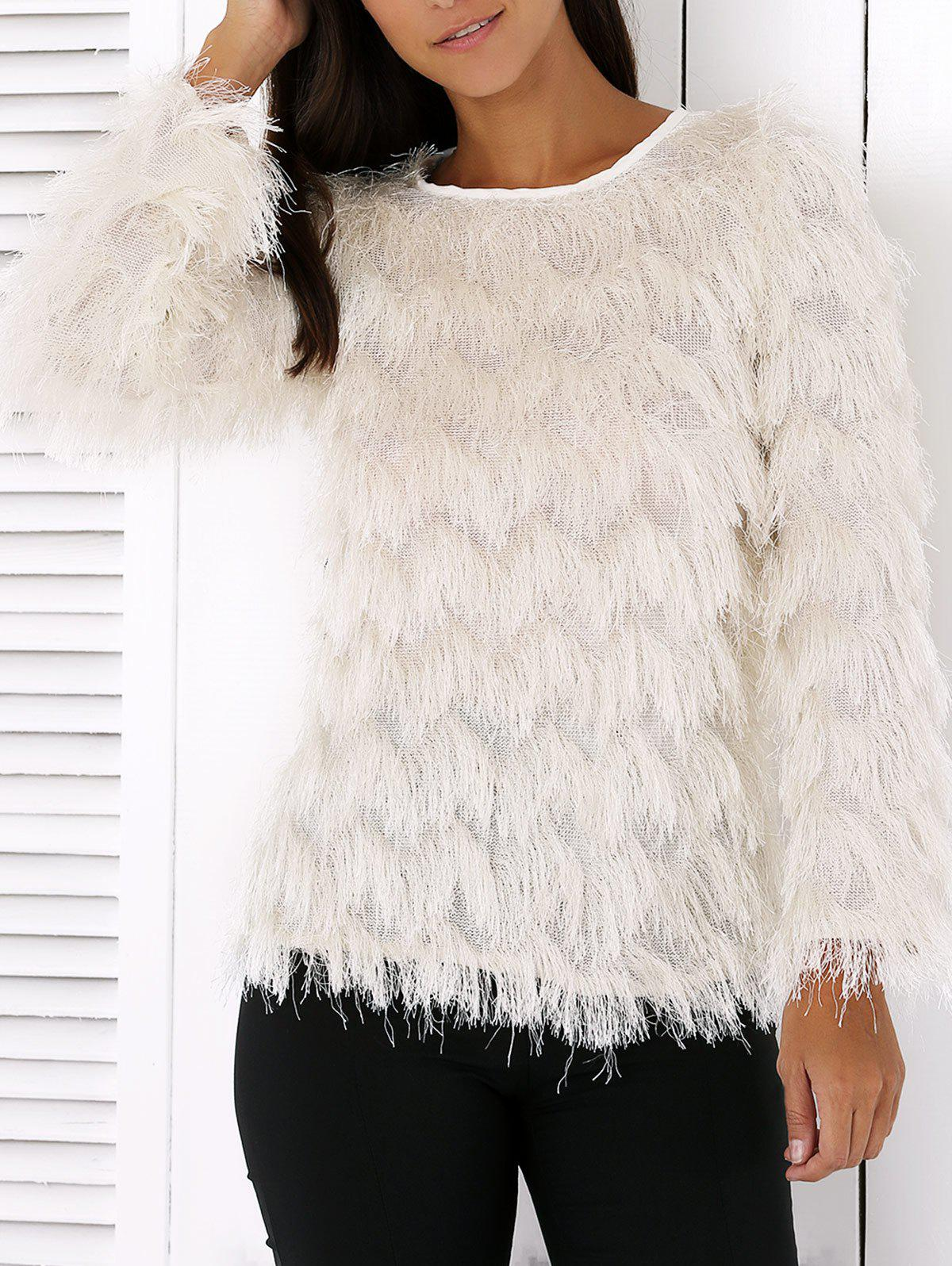 Wavy Fringed Design Pullover Sweater - WHITE 2XL