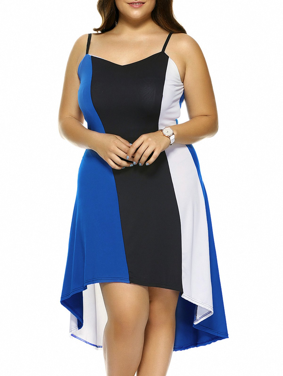 Plus Size Hit Color Asymmetrical Dress - SAPPHIRE BLUE 5XL