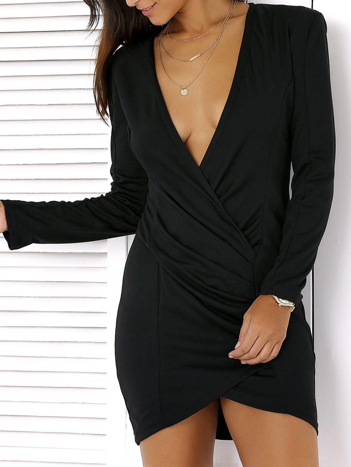 Plunging Neck Long Sleeve Mini Dress - BLACK 2XL