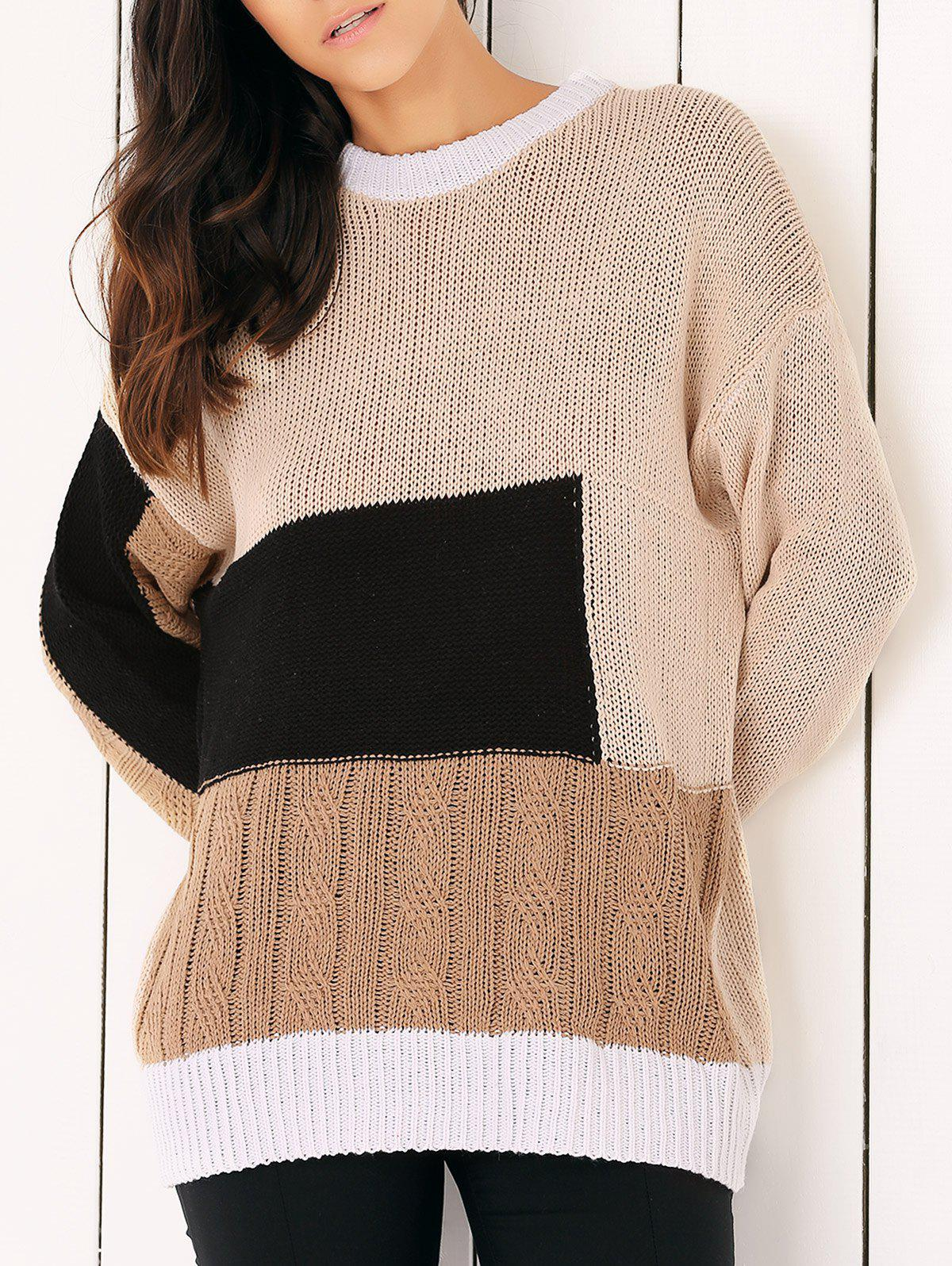 Round Neck Color Block Sweater color block sweater