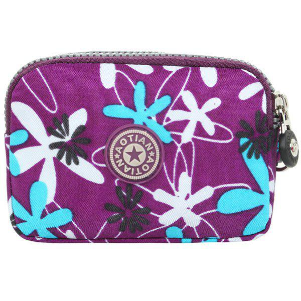 Leisure Color Splicing and Floral Print Design Women's Coin Purse - PURPLE