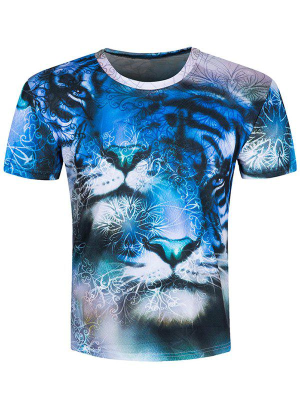 Short Sleeve 3D Tiger Printed Tee - BLUE 2XL