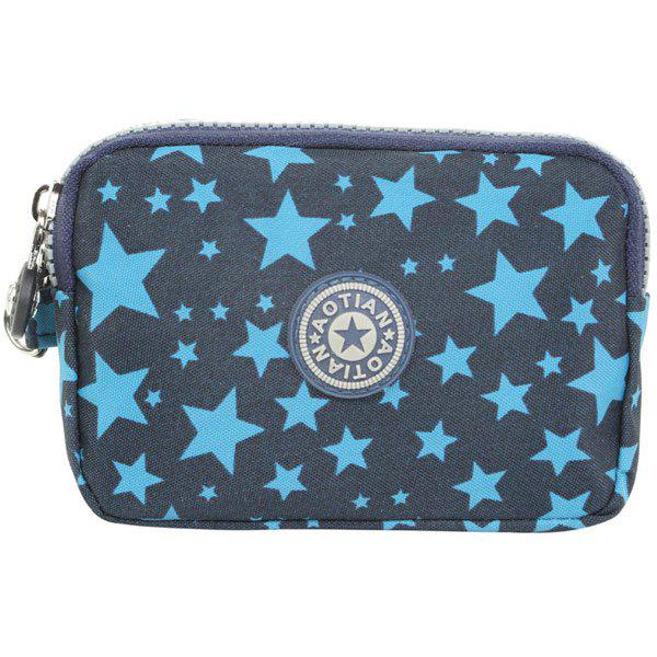 Simple Zippers and Star Pattern Design Women's Coin Purse - BLUE