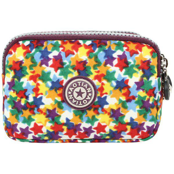 Simple Zippers and Star Pattern Design Women's Coin Purse