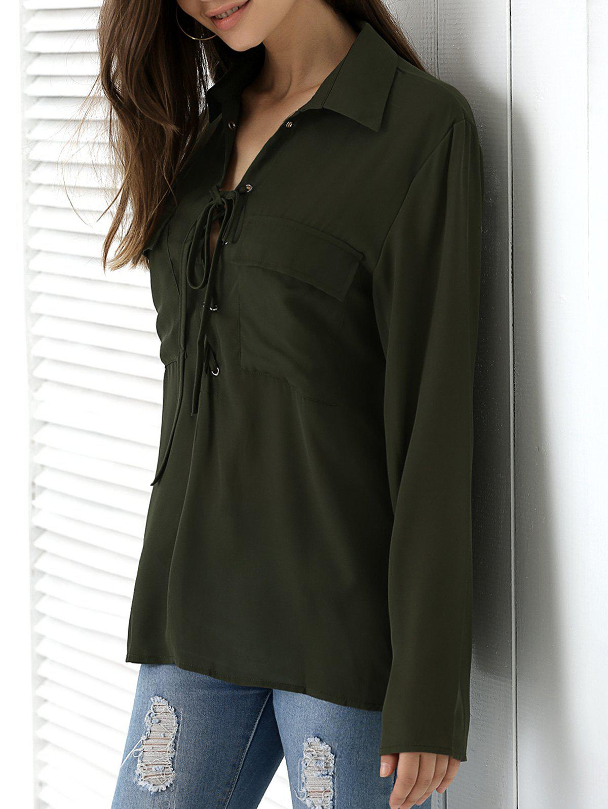 Pocket Design Lace Up Crossover Shirt - ARMY GREEN 3XL