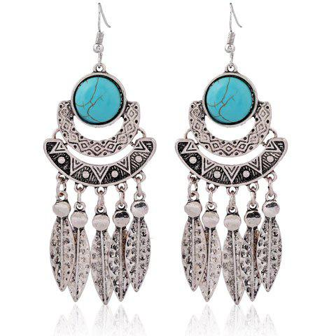Faux Turquoise Leaf Tassel Earrings - SILVER