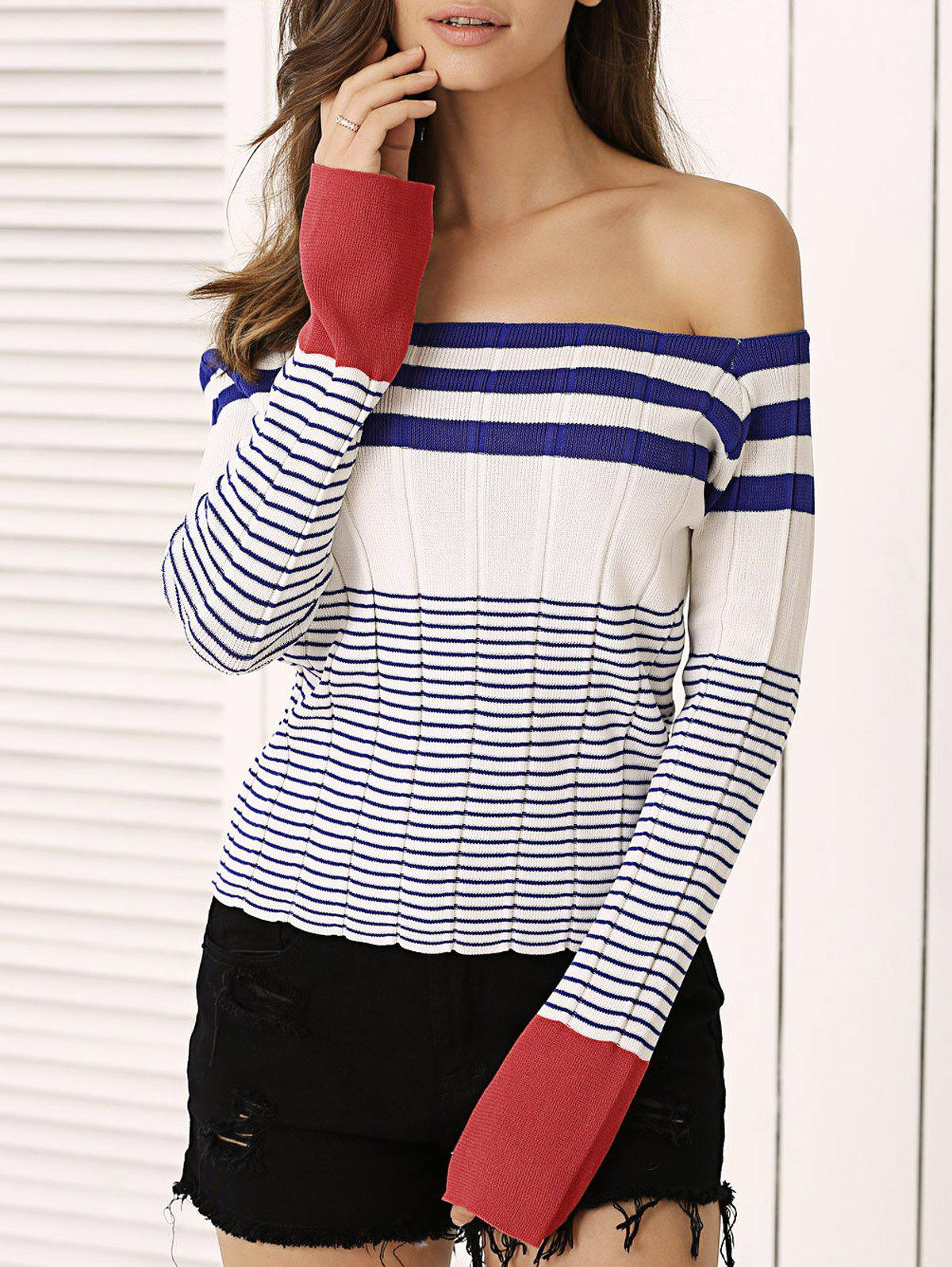 Off-The-Shoulder Striped Knitted Top - WHITE ONE SIZE