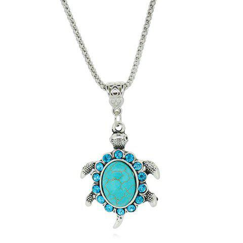Summer Sea Side Turtle and Rhinestone Inlay Pendant Necklace