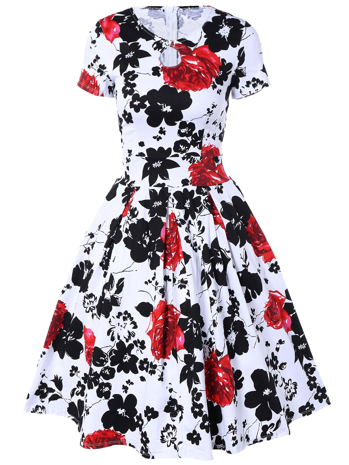 Retro Hole Floral Print High Waisted Fit and Flare Dress - WHITE L