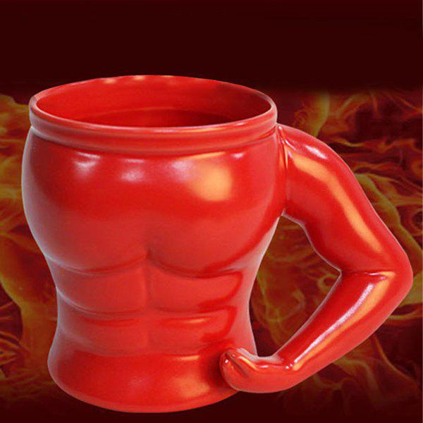 Ceramic Thicken Drinkware Muscle Shape Mug - RED