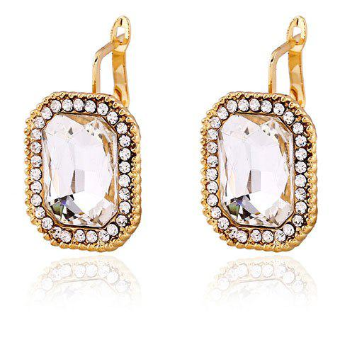 Brief Faux Crystal Inlay Quadrate Clip Earrings