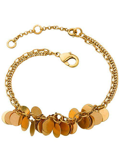 Bohemian Style Gold Plated Multilayered Disc Charm Anklet For Women - COPPER COLOR