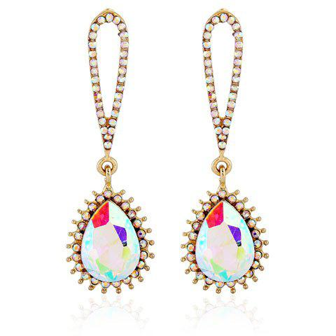 Banquet Party Cut Out Rhinestone Inlay Teardrop Pendant Earrings - GOLDEN