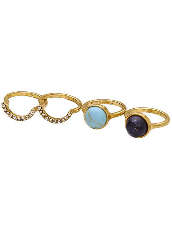 Retro Style Natural Stone Rhinestone Round Ring Set For Women - GOLDEN