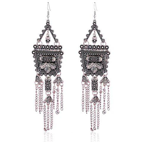 Retro Court Style Tassel Pendant Long Earrings - SILVER