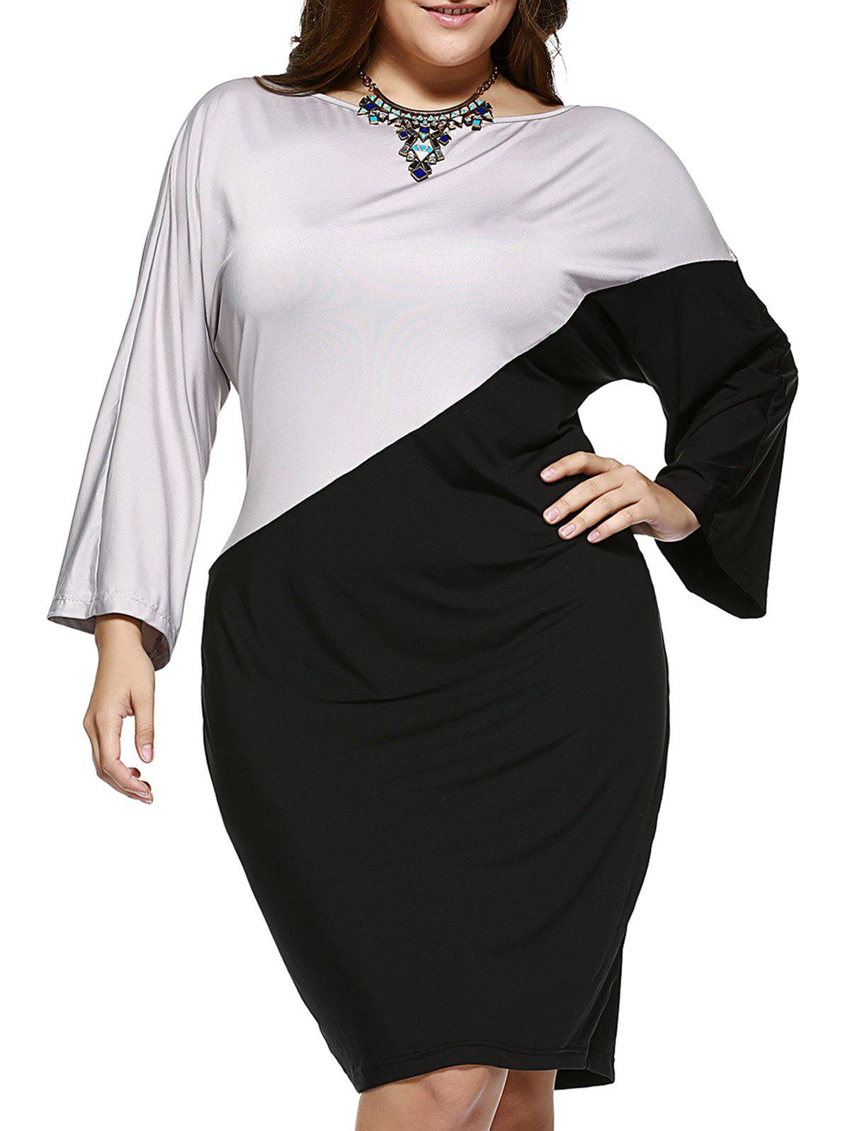 Chic Plus Size Hit Color Comfy Dress - BLACK/GREY 5XL