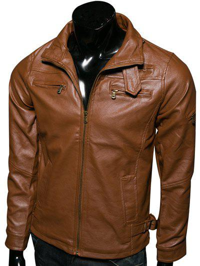 Multi-Pockets Stand Collar Long Sleeve PU-Leather Jacket - LIGHT BROWN 2XL