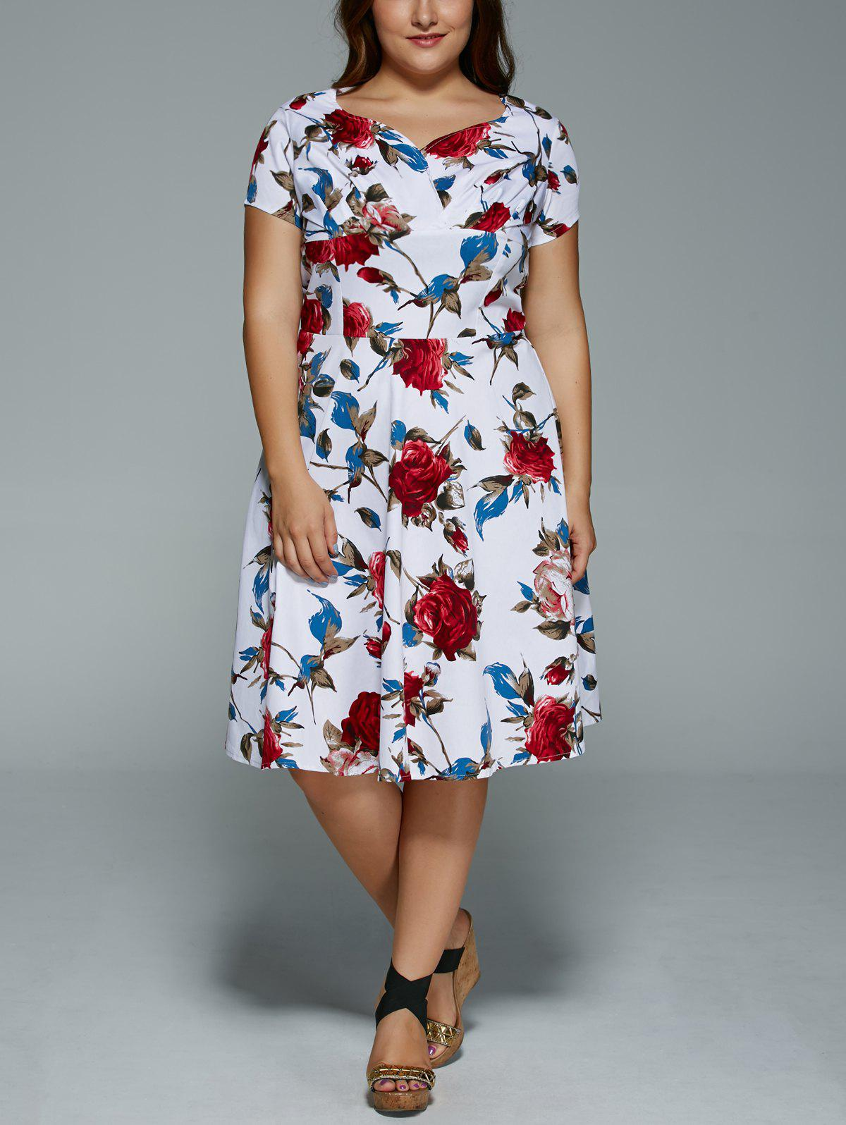 Plus Size V Neck Floral Print Dress - WHITE 5XL