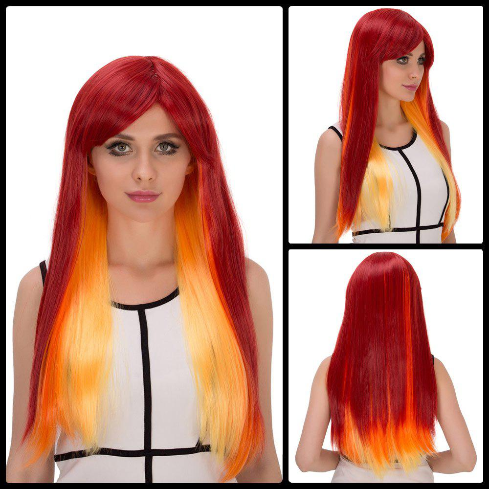 Intense Flammate Ombre Long Side Bang Straight Film Character Cosplay Wig -  COLORMIX