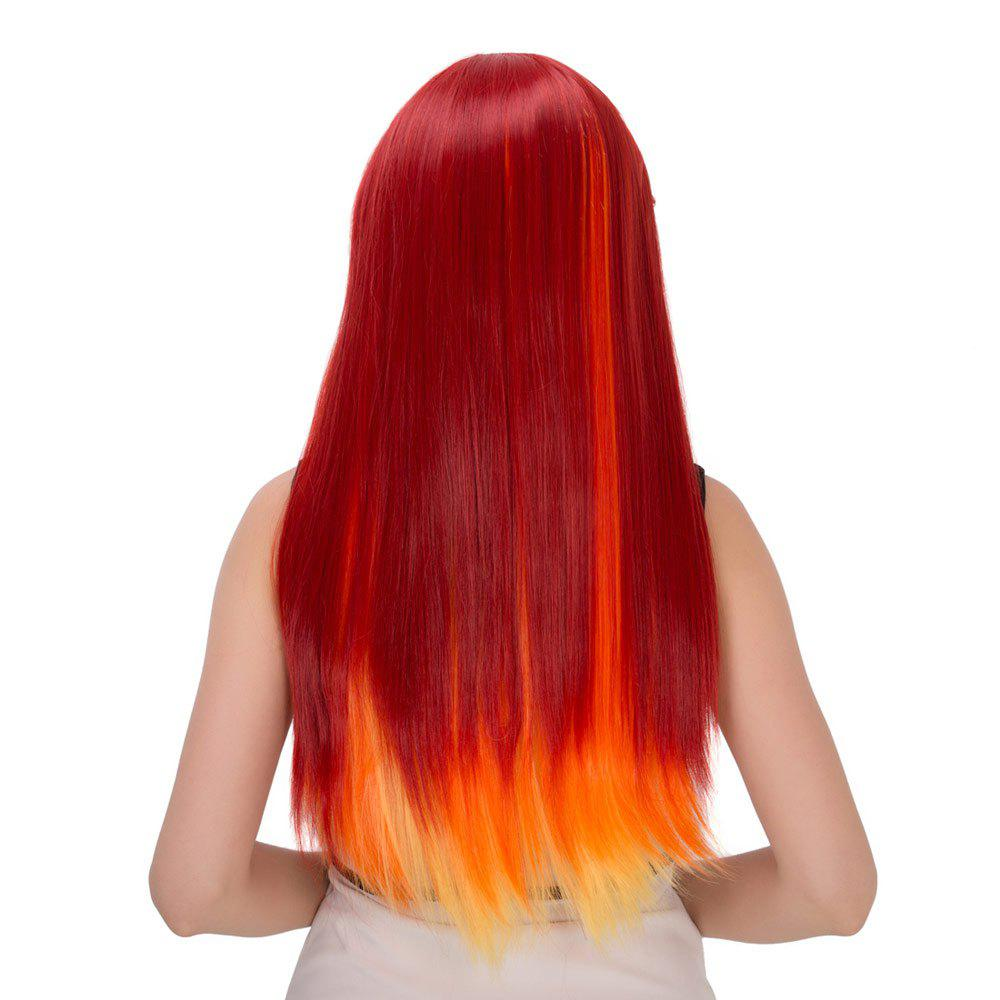 Flamme Intense Ombre Long Side Bang Straight Film Character Cosplay Wig - multicolorcolore